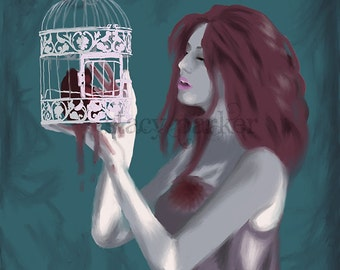Digital Painting Print Caged Heart
