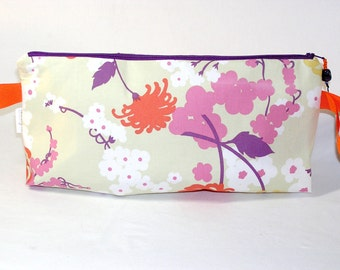 SPECIAL PRICE - Orange Chrysanthemums and Cherry Blossoms Anna Clutch
