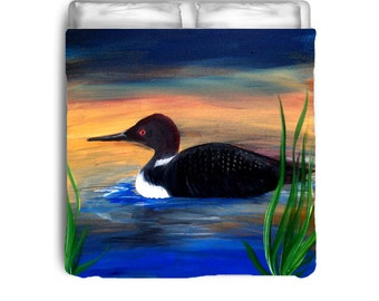 Loon Lake Comforter or Duvet Cover from my art.