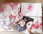 French fabric pieces White linen some roses a few suffolk puffs creative fabrics raspberry pinks