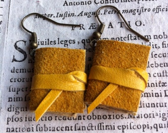 Mini book earrings, yellow mustard