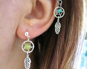 1 Pair- Dream Catcher Studs Post Earrings Tiny Dreamcatcher Feather Charm Turquoise Amethyst Opal Pearl Ear Jewelry