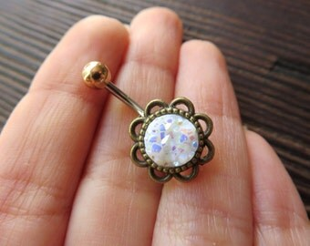 Belly Button Ring White Rainbow Druzy Geode Stone Rock Belly Ring Flower Rose Navel Piercing Bronze Belly Ring Glitter Bar Barbell