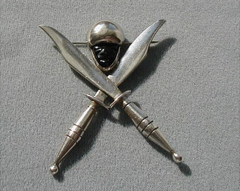Mexican Sterling Signed Mayan Warrior Swords Brooch
