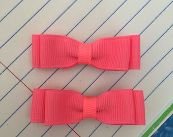Bright Pink 2 Inch Baby Toddler Bows Adorable Classic Shape Great Gift Set of Two on Partially Lined Clippies TWINS