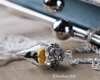 ON SALE Sunny Yellow Rose Flower Tiny Terrarium Necklace Glass Vial by Woodland Belle