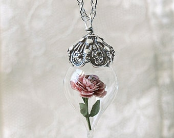 ON SALE Pink Peony Tiny Flower Glass Terrarium Necklace by Woodland Belle