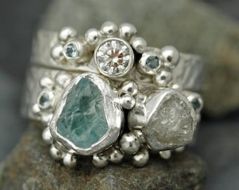 Raw Aquamarine, Rough and Cut Diamond Sterling Silver Stacking Ring Set- Two Custom Made Rings