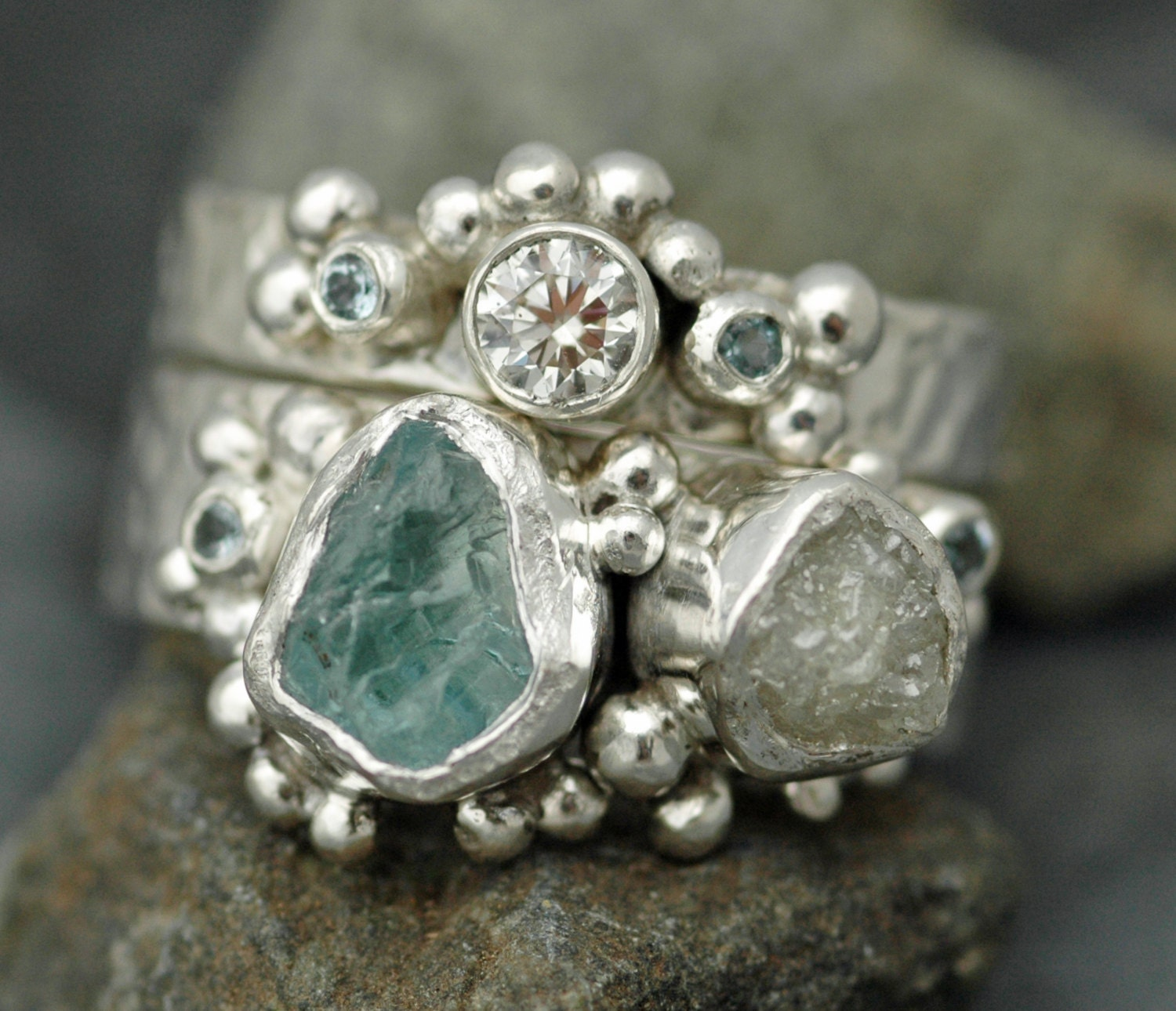 Raw Aquamarine Rough and Cut Diamond Sterling Silver or Gold