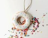 Donut with Sprinkles Felt Christmas Ornament
