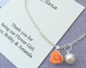 Flower girl necklace, personalized, rose, FREE notecard and JEWELRY box.