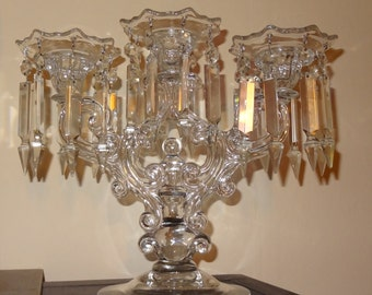 Pair of Large Cambridge Glass and Crystal Prism Candelabra circa 1939