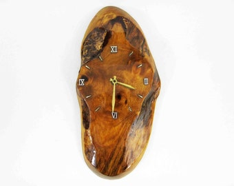 Vintage Wood Slab Wall Clock With Roman Numerals. Circa 1950's - 1960's.