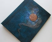 Refillable Journal Handmade Turquoise Copper Moon 9x7 Original