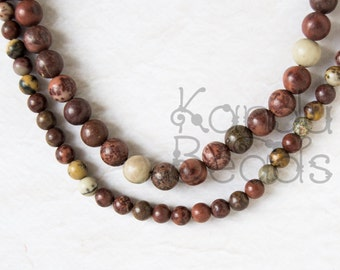 """Coffee Bean Jasper Smooth Round beads 15"""" 4mm OR 6mm Brown, Gray, Pink Earthy Colors"""