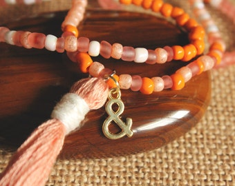 Peach Beaded Tassel Necklace with Ampersand Charm // boho jewelry - bohemian -  festival jewelry - layering necklace - hippie