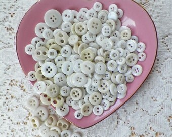Destash Lot Vintage / Antique White and Creamy Ivory Buttons, 150 +Two Hole / Holes and Four Hole / Holes, Glass