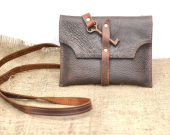Small Leather Clutch with Antique Skeleton Key Wrap Around - Rustic Steam Punk - Distressed Leather Clutch
