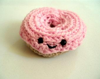 Pink Crochet Donut Amigurumi Doughnut Pin Cushion Play Food Toy Cake Donut Plushie