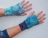 organic cotton arm warmers tie dye fingerless gloves