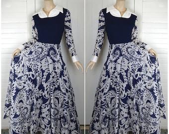 Swirling Paisley Maxi Dress- Navy Blue & White- 1970s / 70s- Large