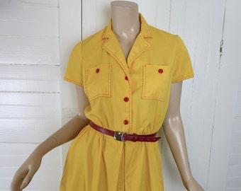 Sunny Yellow Dress- 80s New Wave Secretary- 1980s- Shirt Dress