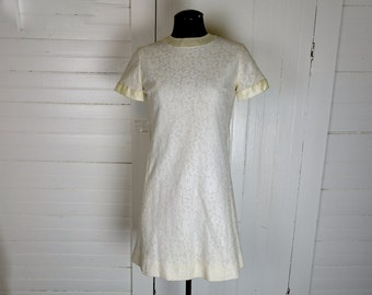 Ivory Lace Mini Dress- 1960s Mod- White- 60s Short Wedding Dress
