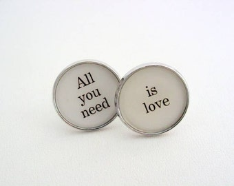 Wedding Anniversary Gift To Groom From Bride All You Need Is Love Cuff Links Cufflinks Dress Clips