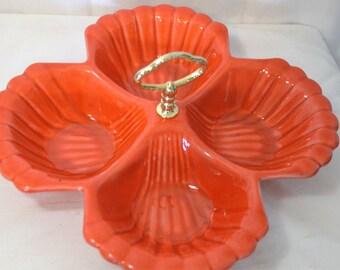 Vintage California Pottery USA Divided Pottery Tidbit Tray, Orange Clam Shell