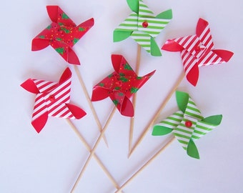 6 Pinwheel Cupcake Picks Christmas Theme