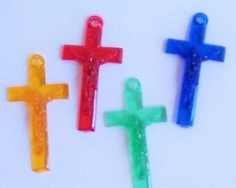 4 Plastic Crucifix Cross Charms Plastic Relief 4 Colors