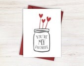 You're My Favorite Valentine's Day Card with Mason Jar and Red Hearts