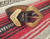 Vintage Western Statement Belt black leather with gold hardware