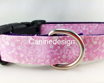 Dog Collar, Pink Paisley, 1 inch wide, adjustable, quick release, metal buckle, chain, martingale, hybrid, nylon