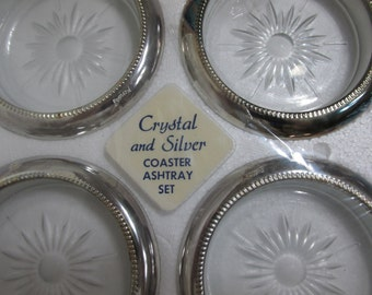Coaster Ashtray Crystal and Silver set of 4 Vintage 1960s New Old Stock
