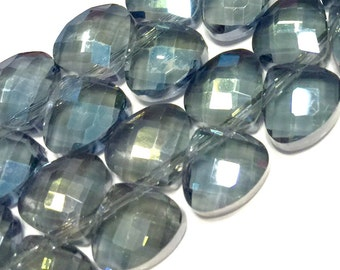Faceted Crystal briolettes flat heart top drilled deep sea color checker faceted