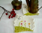 Crochet Sheep Coasters, Animal Coasters, Hand Embroidery Coasters, set of 2