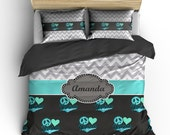 Dance & Chevron Monogrammed Bedding-  Silver Grey Chevron, Charcoal-Mint-Turq-LtAqua Heart Love Dance- Size Toddler-Twin-Queen or King Size