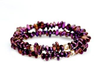 Purple Hematite Bracelets Set of Two Stack Purple Bracelets Rocker Style Bracelets Modern Flare Pebble Stone Bracelets Arm Candy Mei Faith
