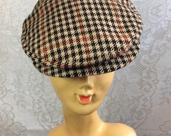 Vintage Houndstooth Derby Cap