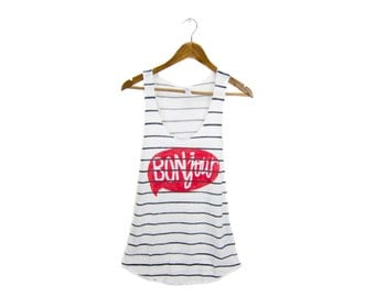 BONjour Tank - Scoop Neck Racerback Swing Tank Top in Black and White Ink Stripe Stripe - Women's Size S-XL