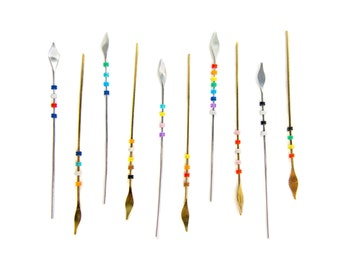 Arrow Earrings - Single Mini Spear Shaped Minimalist Straight Earrings in Silver / Gold with Silicone Beads