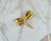 Vintage Dragonfly Brooch A Stunning Little Gold Tone Beauty Rhinestone Accented Dragonfly Brooch  - Plus a BONUS
