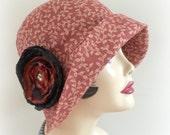 Cloche Hat Summer Hat Fall Hat Ladies Flapper Sun Hat Large Brim Eleanor Terra-cotta Cotton Hat Art Deco Leaf Print Size XL Ready To Ship