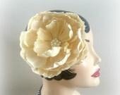 Bridal Hair Flower - Bridal Fascinator - Champagne Flower - Bridal Accessory - Bride's Hair Flower - Large Hair Flower - Handmade in the USA