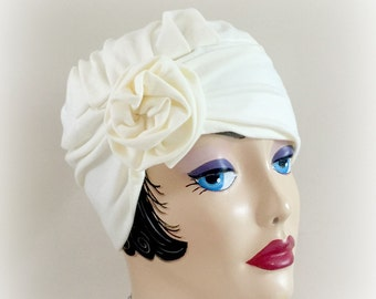 Cotton Turban - Flapper Hat - Chemotherapy Hat - Soft Cotton Hat - Cloche Hat - Hair Loss Hats - Chemotherapy Turban - Handmade in the USA