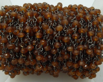 hessonite garnet rosary chain
