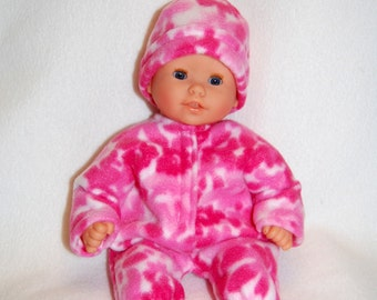 "Pink print Fleece Sleeper Bunting and Hat for 12"" Corolle Mon Premier Baby dolls tkct736"