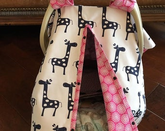 Baby Car Seat Cover / Giselle Giraffe in Navy with Pink Floral / Baby Gift / Baby Girl / Shower Gift