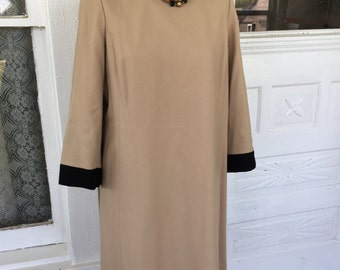 Vintage All Wool Custom Made Dress Tan With black Collar and Cuff Size L
